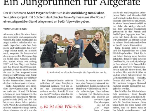 """Zeitungsbericht zur AG """"PCs für Flüchtlinge"""""""